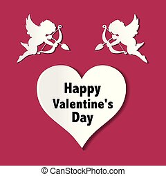 valentines day cards with ornaments, hearts, angel and arrow
