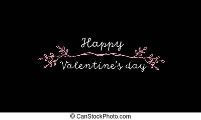 Valentines Day celebration - Animation of the words Happy...