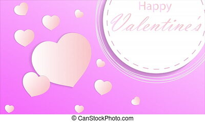 Valentines day circular banner with hearts