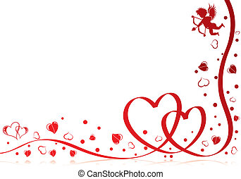 Valentines day theme with heart, ribbon and Cupid, element...