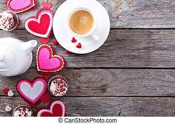 Valentines day coffee and cupcakes copy space