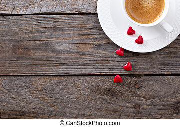 Valentines day coffee copy space