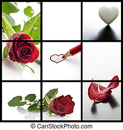 Valentines day collage- a set of five photos of roses and...