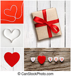 Valentine's day collage of photos with hearts and gift box