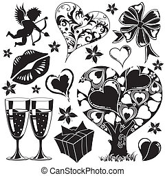 Valentines Day collection with Hearts, element for design,...