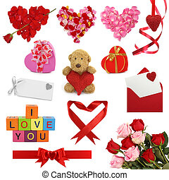 Valentine's day collection isolated on white background