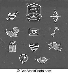 Valentines day collection of vintage sketch icon