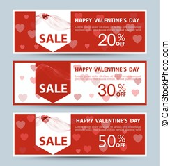 Valentine's day collection sale banners Vector Three banners...