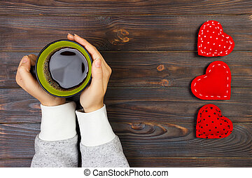 Valentines day composition with coffee cup and heart of red velvet. Top view. Copy space