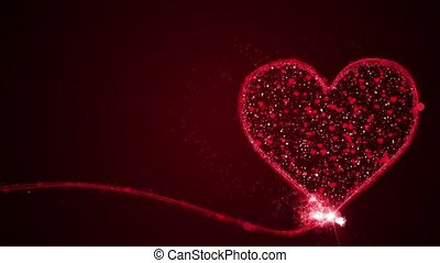 Valentines day concept animation with full particles in heart on red