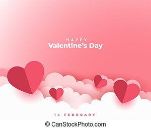 valentines day concept card in paper cut style