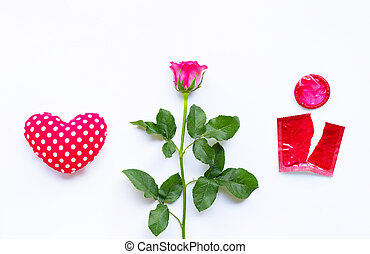 Heart with rose and red condom on white background.