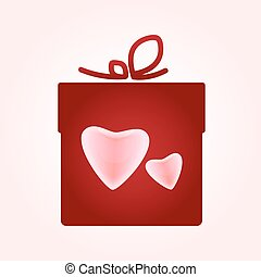 Valentine's day concept illustration with gift box with hearts.