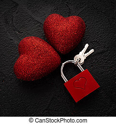 Valentine's Day Concept. Key with the heart as a symbol of love