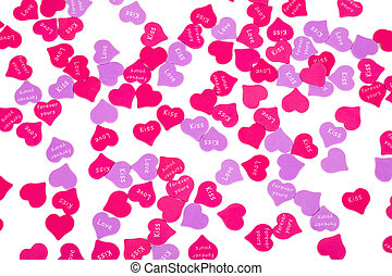 Valentines Day confetti on white background