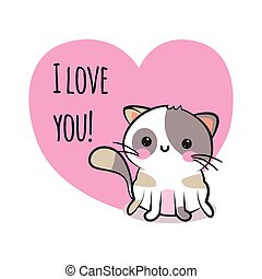 Valentines day congratulation card with cartoon cute smiley kitten and pink heart with text I love you. Funny and lovely neco cat greeting card. Love design. Vector illustration.