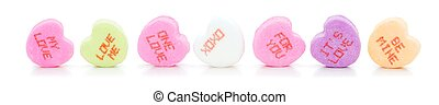 Valentines Day conversation hearts - Row of Valentines Day...