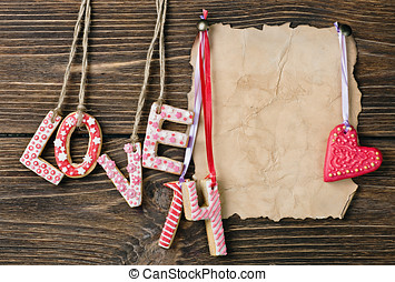 Valentine's Day cookies and old paper