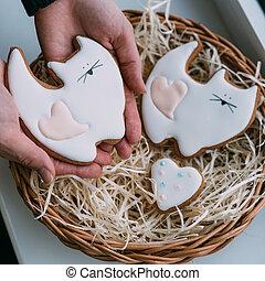 Valentine's day cookies in female hans