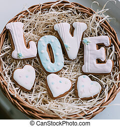 Valentine's day cookies in wicker basket