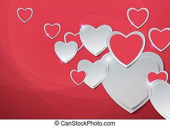 valentines, day., corazones, corte, de, papel