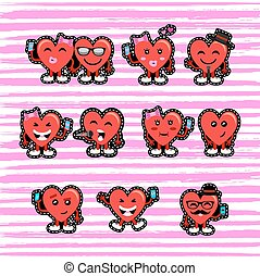 Valentines day couple heart emoji patch set