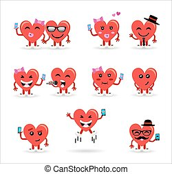 Valentines day couple heart emoji set