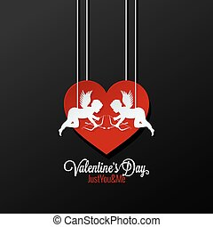 Valentines Day Couple On Heart Background