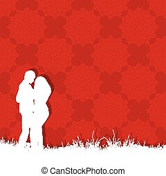 Valentines day couple on red background