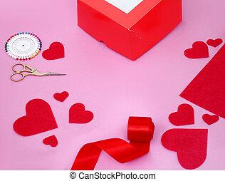 Valentines day craft. Handmade gift. Sewed valentine card, DIY present. Wedding decoration