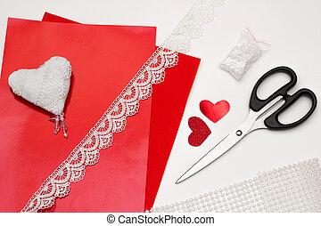 Valentines day craft top view. Handmade lace heart. Sewed valentine card, DIY present. Wedding decoration