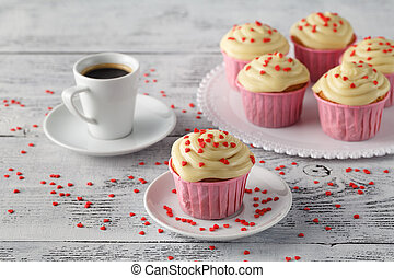 Valentines day cupcakes decorated with hearts