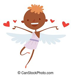 Valentines Day cupid angels cartoon style vector...