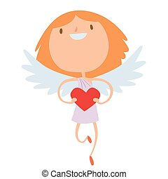 Valentines Day cupid angels cartoon style vector illustration
