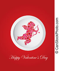 Valentines Day Cupid Dots Greeting Card