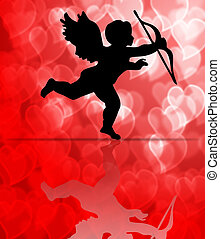 Valentine's Day Cupid on Hearts Blurred Background