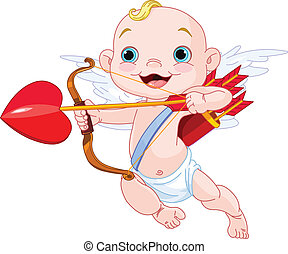 Valentines Day Cupid ready to shoot his arrow