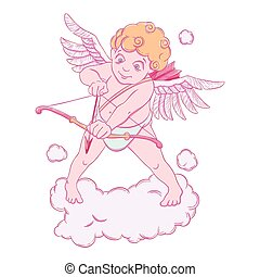 Valentine's day. Cupid with a bow and arrow takes aim. Vector illustration isolated on white background.