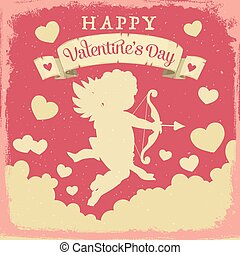 Valentines Day Cupid with love arrows and hearts