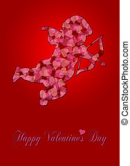 Valentines Day Cupid with Pattern Hearts on Red Background