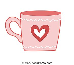Valentine's Day. Cute cartoon cup with heart. Pink color