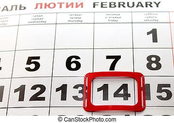 valentines, day., date, de, calendar.