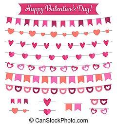 Valentines Day decoration and design elements set
