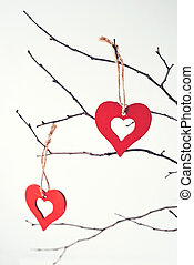 Valentine's day decoration with ornaments in the form of hearts.