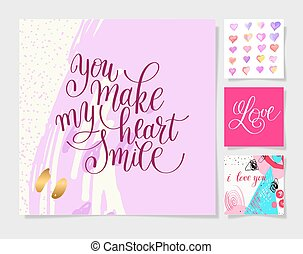 valentines day design set, calligraphy vector