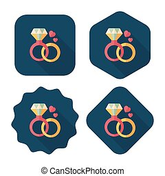 Valentine's Day diamond ring flat icon with long shadow, eps10