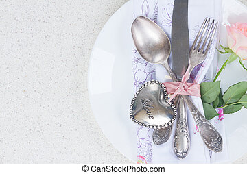 Valentines day dinner with vintage silver cutlery