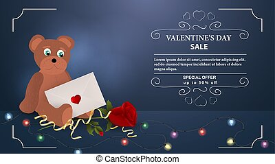 Valentines day discount up to fifty percent blue banner bear cub with postal envelope sits with flower rose with space for text frame garland