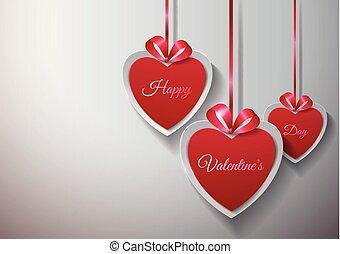 valentines, day., dolgozat, háttér, függő, piros, white szalag, boldog