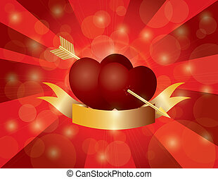 Valentines Day Double Hearts with Arrow and Banner